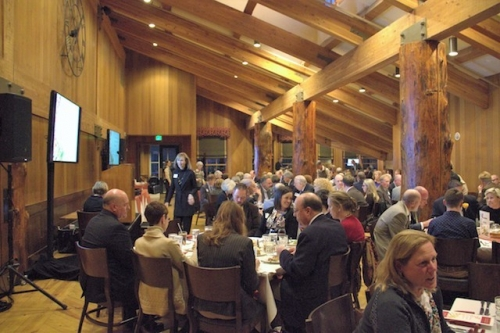 Healthcare leaders networking at UHA's 2016 Annual Awards Dinner at Snow Park Lodge in Deer Valley.